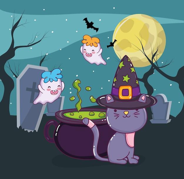 Halloween katze und geister
