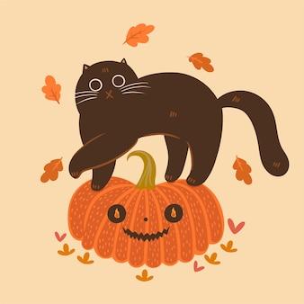 Halloween katze und kürbis. herbststimmung.