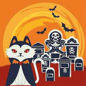 Halloween-katze verkleidet von dracula-charakter