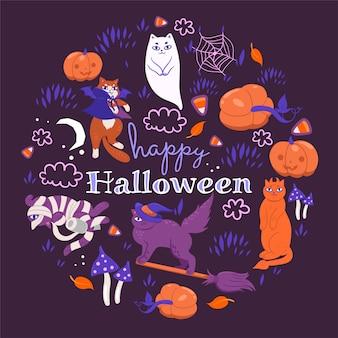Halloween-katzen auf einem lila hintergrund.