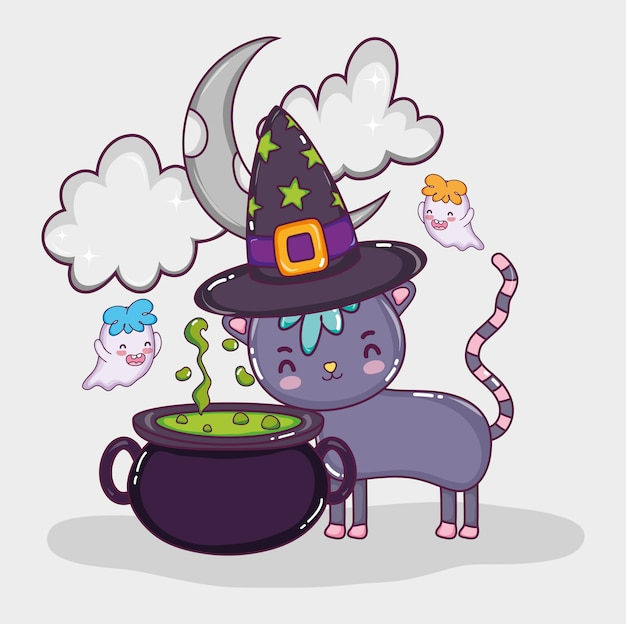 Halloween-katzen-karikaturen