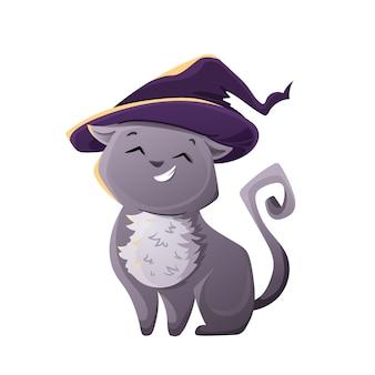 Halloween-katzen-kostüm-party nette katze in einem hexenhut für ihr design lokalisiert auf weißem hintergrund