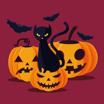 Halloween-katzen- und kürbiskarikaturen