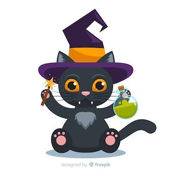 Halloween-katzenhintergrund im flachen design