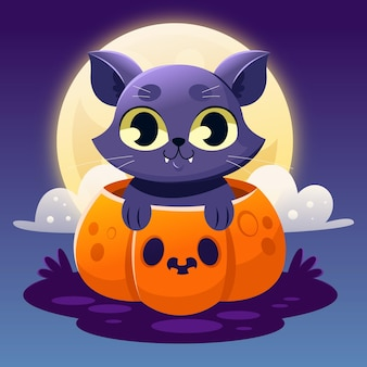 Halloween-katzenillustration mit farbverlauf