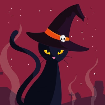 Halloween-katzenkarikatur