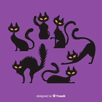 Halloween-katzensammlung mit flachem design