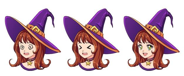 Halloween kawaii hexe mit acht verschiedenen gesichtsausdrücken
