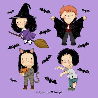 Halloween-kinder eingestellt
