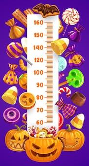 Halloween kinder höhentabelle, süßes oder saures süßigkeiten