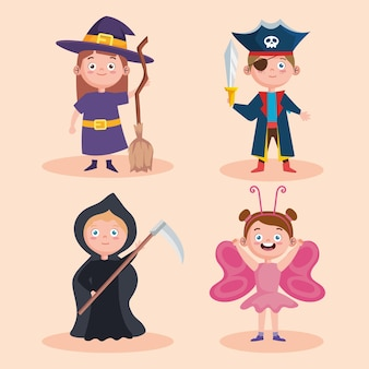 Halloween kinder icon-set
