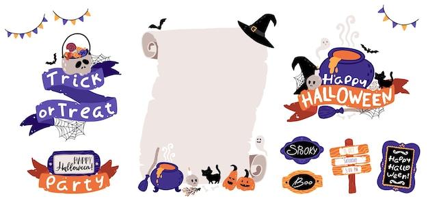Halloween kinder party einladungsvorlage gesetzt. schriftzugkomposition mit bändern und gruseligen attributen. alte papierrolle. kinderillustrationen im niedlichen handgezeichneten cartoonstil. isolierter vektor.