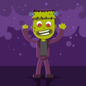 Halloween-kinderkostüm des monsters auf einem lila abstrakten hintergrund. vektor niedliche karikatur flache figur für urlaub und party. vorlagenentwurf für das plakat.