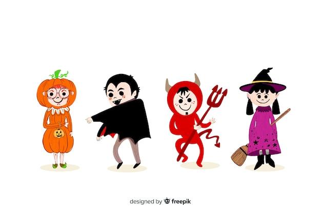 Halloween-kinderkostümsammlung auf weißem hintergrund