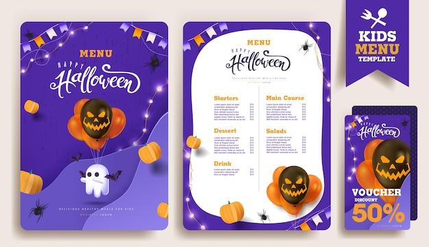 Halloween-kindermenü-vorlagen-design mit niedlichen cartoon-halloween-charakteren