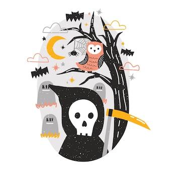 Halloween-komposition mit sensenmann, der sense und eule hält, die auf einem ast gegen gräber auf dem friedhof und sternenklarer nachthimmel im hintergrund sitzt. bunte festliche vektorillustration der flachen karikatur.