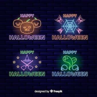 Halloween konzept leuchtreklame sammlung