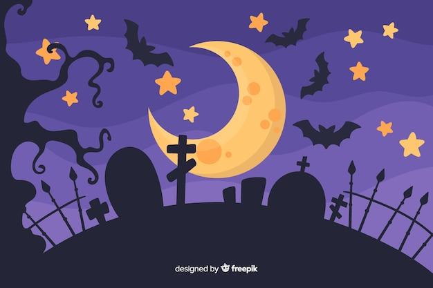 Halloween-konzept mit flachem designhintergrund