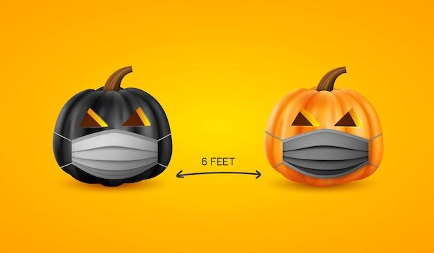 Halloween-konzept zur sozialen distanzierung.
