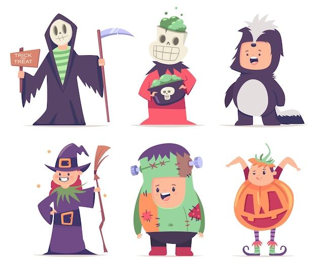 Halloween-kostüme für kinder: kürbis, zombie, stinktier, hexe, skelett und sensenmann. vektorkarikatursatz nette jungen- und mädchencharaktere lokalisiert auf weißem hintergrund.