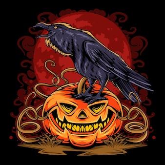 Halloween-krähe auf halloween-kürbis auf vollmond-hintergrund-vektorgrafiken