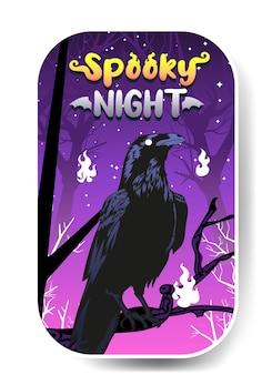 Halloween-krähe-vektor-illustration, gruselige nacht