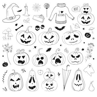 Halloween kritzeleien vektor-set geschnitzte kürbisse geisterfledermaus schädel hexenhut kerze