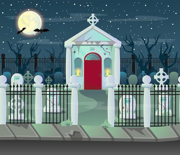 Halloween-krypta. hintergrund für spiele und mobile anwendungen nach ebenen