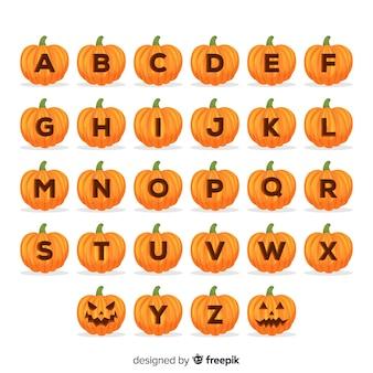 Halloween kürbis alphabet
