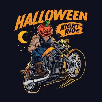 Halloween-kürbis-biker-motorrad-club-plakatillustration