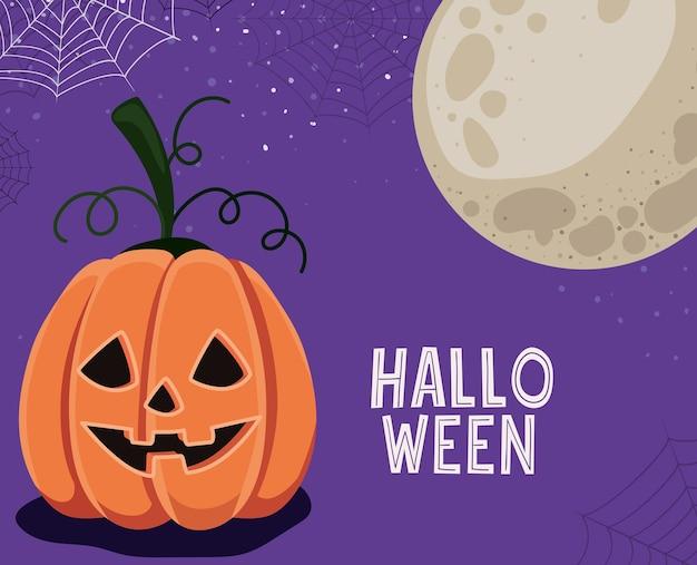 Halloween kürbis cartoon mit spinnennetz design, urlaub und gruseliges thema