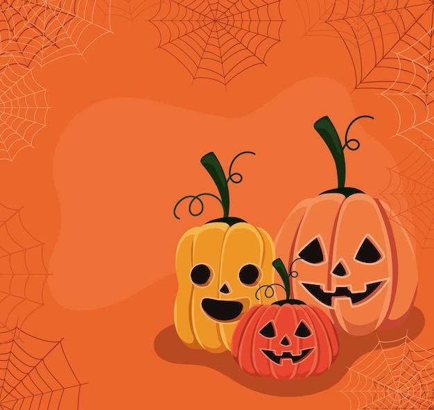 Halloween kürbis cartoons mit spinnennetz design, urlaub und gruseliges thema