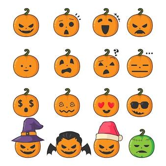 Halloween kürbis emoticon set