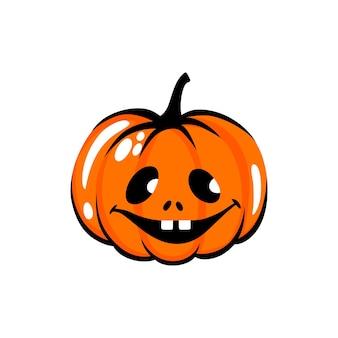 Halloween-kürbis-gesicht-abbildung cartoon-vektor-figur niedlichen orangefarbenen kürbis schnitzen