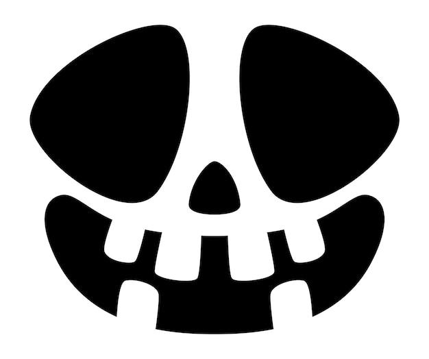 Halloween-kürbis-gesichtssymbol. gespenstisches schiefes lächeln.