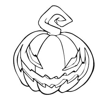 Halloween-kürbis. handgezeichnete vektor-illustration. kann für karten, malbücher, seiten, tätowierungen, spiele usw. verwendet werden.