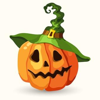 Halloween-kürbis im cartoon-stil mit grünem hexenhut. gruseliges gesicht isoliert