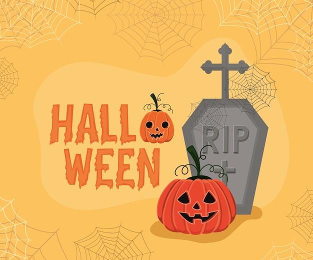 Halloween-kürbis-karikatur mit grabentwurf, feiertag und gruseligem thema