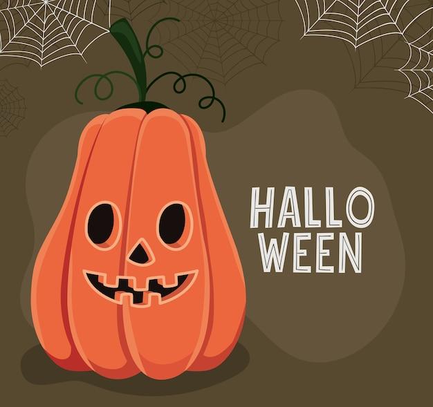Halloween-kürbis-karikatur mit spinnwebenentwurf, halloween und gruseligem thema