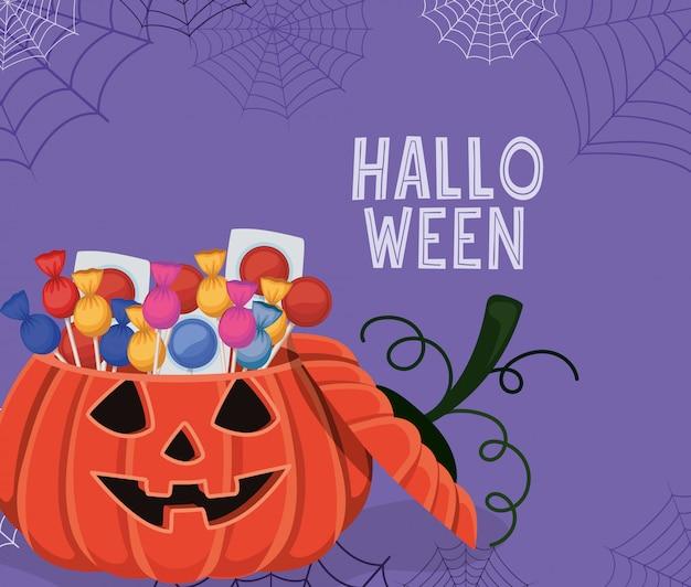 Halloween-kürbis-karikatur mit süßigkeiten und spinnwebenentwurf, feiertags- und unheimlichem thema