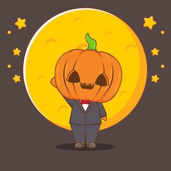 Halloween-kürbis-kostüm-cartoon-illustration