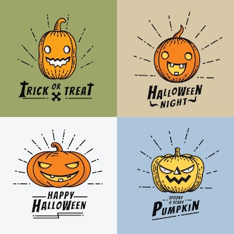 Halloween kürbis line art icon set Premium Vektoren