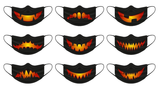 Halloween-kürbis-maske. gesichtsschutzmasken mit halloween-gruseligen kürbisgesichtern isolierten vektorillustrationssatz. fröhliche halloween-gruselige gesichtsmaske. virenschutzmaske, halloween-gesicht gruselig