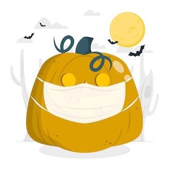 Halloween-kürbis mit einer gesichtsmaskenkonzeptillustration