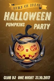 Halloween-kürbis mit feuerflammen auf rüstung. vektor-illustration. halloween-party-flyer.