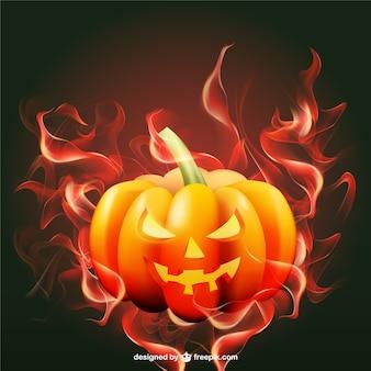 Halloween-kürbis mit flammen