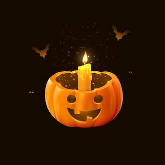 Halloween-kürbis mit kerze und fledermäusen vektor-3d-illustration