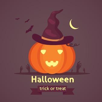 Halloween-kürbis mit niedlichem gesicht auf dunklem hintergrund. cartoon illustration.