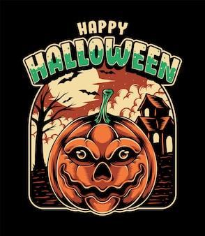 Halloween kürbis mit spukhaus premium