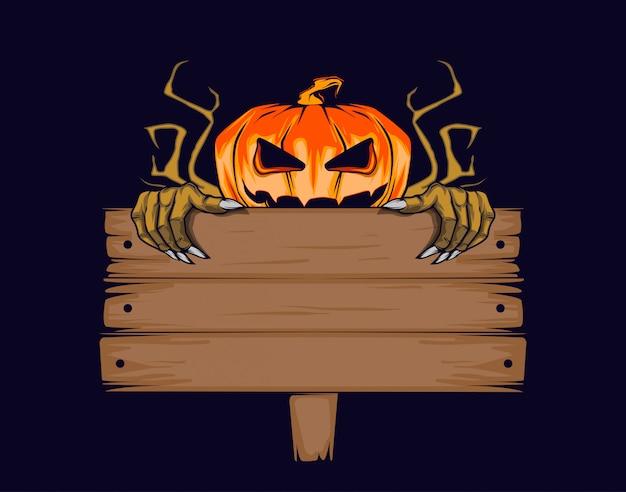 Halloween kürbis mit tablette für die inschrift.